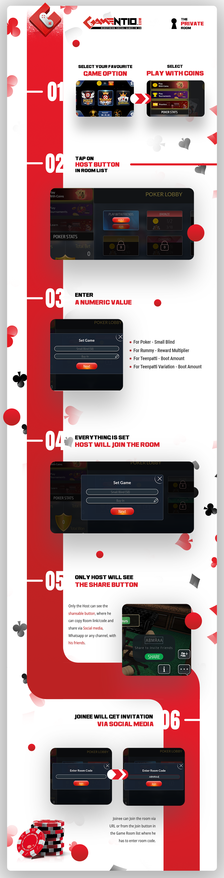 Invite friends to play poker, 3 patti or rummy online - Infographic